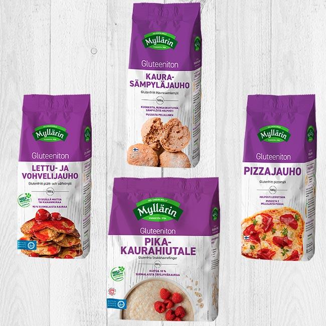 Myllärin gluteenittomat uutuustuotteet: Lettu- ja vohvelijauho, Kaura-sämpyläjauho, Pikakaurahiutale ja Pizzajauho.