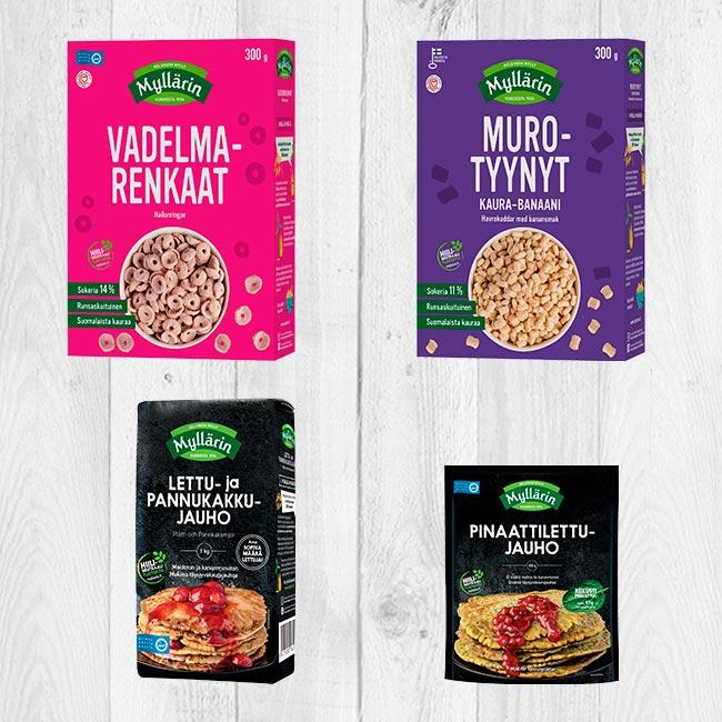 Myllärin Vadelmamurot, Murotyynyt, Lettu- ja pannukakkujauho sekä Pinaattilettujauho kaupoissa elokuussa.